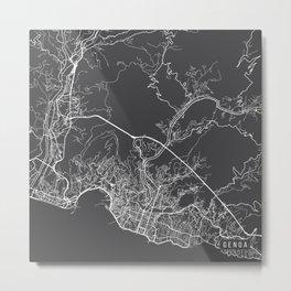 Genoa Map, Italy - Gray Metal Print