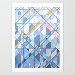 Triangle Pattern no.17 Light Blues Art Print