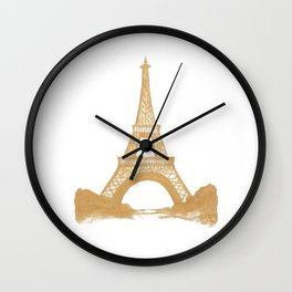 Golden Eiffel Tower Wall Clock