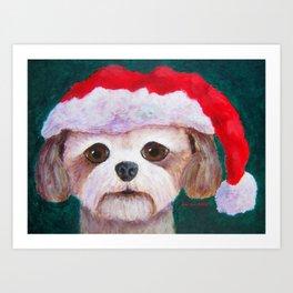Christmas Shih Tzu By Annie Zeno Art Print