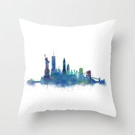 NY New York City Skyline NYC Watercolor art Throw Pillow