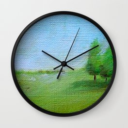 PINES LANDSCAPING OIL PAINTING Wall Clock