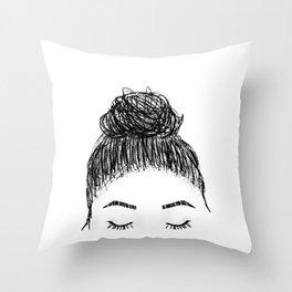 messy girl bun Throw Pillow