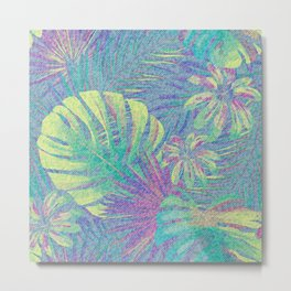 Distressed Neon Palm Fronds Metal Print