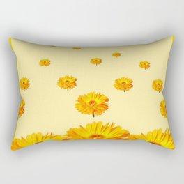 FLOATING GOLDEN FLOWERS YELLOW COLLAGE Rectangular Pillow
