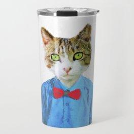 Cute funny cat with blue shirt Travel Mug
