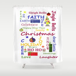 Christmas Message Shower Curtain