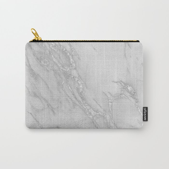 Marble Love Silver Metallic Carry-All Pouch