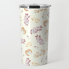 Pastel pink yellow watercolor botanical leaves berries Travel Mug