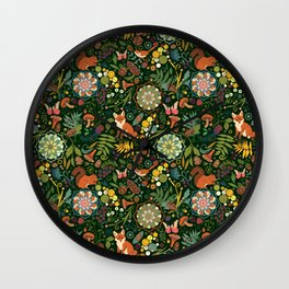 Treasures of the emerald woods Wall Clock