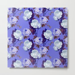 Midnight Roses on Periwinkle Metal Print
