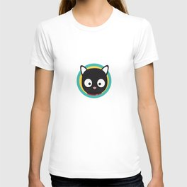 Black Cat with Green Circle T-shirt
