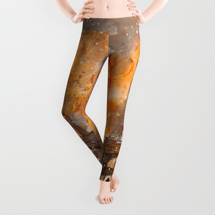 Paris Eifel Tower orange mixed media art Leggings