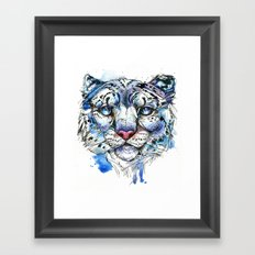Icy Snow Leopard Framed Art Print