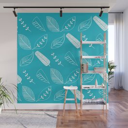 Leaves on turquoise II Wall Mural
