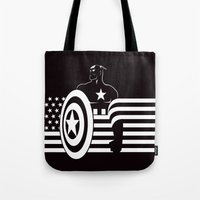 captain Tote Bags featuring captain by MISTER BLACKWHITE
