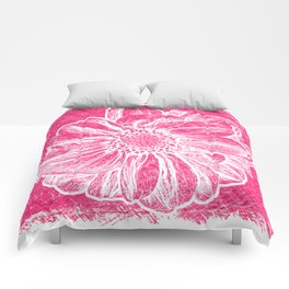 White Flower On Pink Crayon Comforters