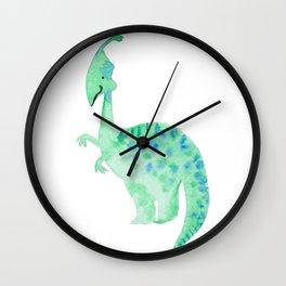 Green dino | Watercolor children illustration Wall Clock