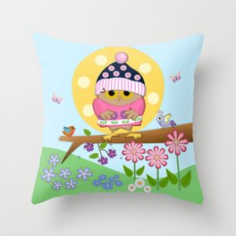 Spring owl in her new dress Throw Pillow