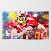 sport Area & Throw Rugs featuring sport art- american football by yossikotler