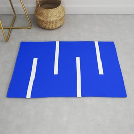 Abstract Minimal Retro Stripes Blue Rug