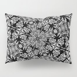 Fallen Leaves Black and White Kaleidescope Pillow Sham