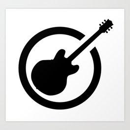 Black Ink Stamp Semi Guitar Art Print