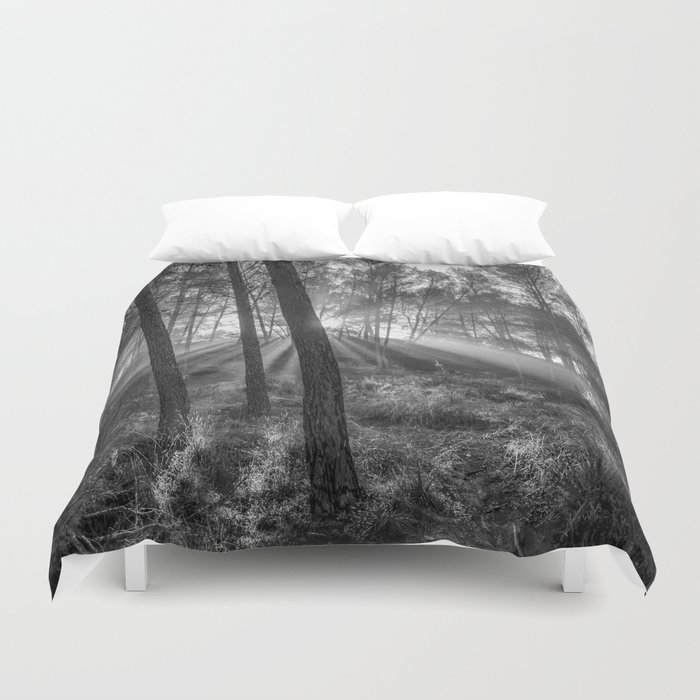 """""""Sunrise through the foggy forest"""". Forest dreams. Mono Duvet Cover"""