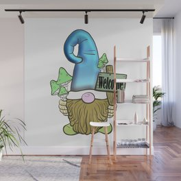 Classic Blue Hat Gnome With Welcome Sign Wall Mural