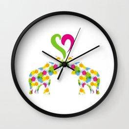 Two elephants in love Wall Clock