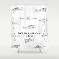 blueprint Shower Curtains featuring North American T-6 Texan Blueprint Style Artwork by Jim Groom Photography