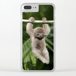 Hanging Around - Baby Three-toed Sloth Clear iPhone Case