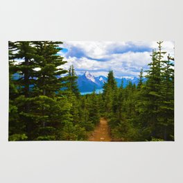 Maligne Lake from Above on the Bald hills hike in Jasper National Park, Canada Rug