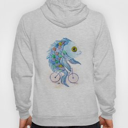 fish on a bicycle Hoody