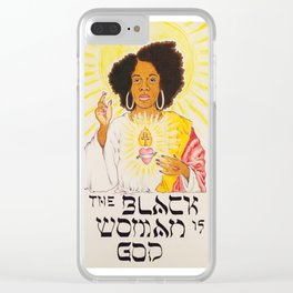 the black woman is god Clear iPhone Case