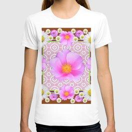 Floral Abundance Brown Shasta Daisy Pink Roses Abstract Art T-shirt
