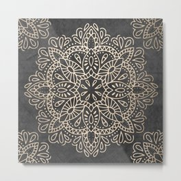Mandala White Gold on Dark Gray Metal Print