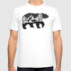 THE BEAR AND THE FOXES Mens Fitted Tee MEDIUM White