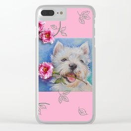 Westie puppy & Rose flower - For Jennifer Clear iPhone Case