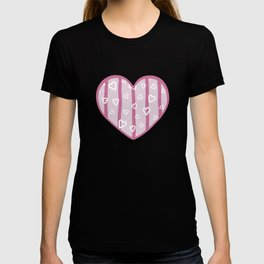 White hearts doodles on pink striped background T-shirt