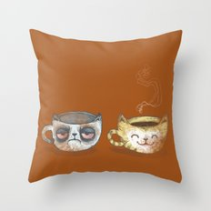 Grumpy Cup, Happy Cup Throw Pillow