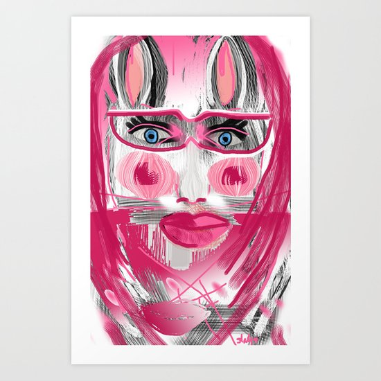 rabbiting girl Art Print