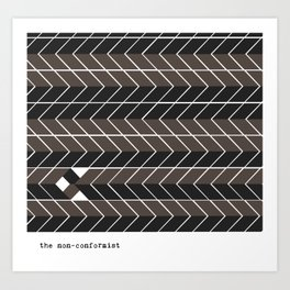Non-conformist Black Chevron Pattern #society6 Art Print