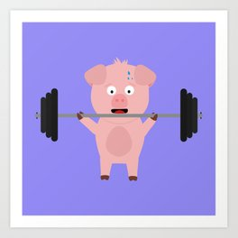 Fitness Pig with Weights Bjzsl Art Print