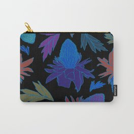 Tropical Ginger Plants in Moody Blues + Black Carry-All Pouch