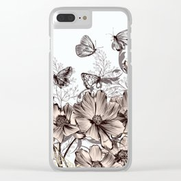 Background with flowers and butterflies Clear iPhone Case