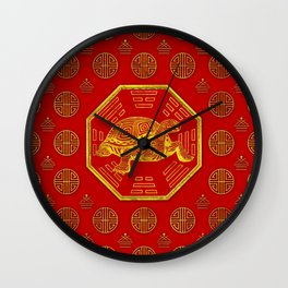 Golden Tortoise / Turtle Feng Shui on red Wall Clock