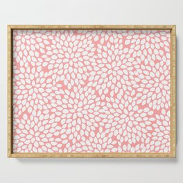 White Floral Pattern on Coral - Mix & Match with Simplicity of Life Serving Tray