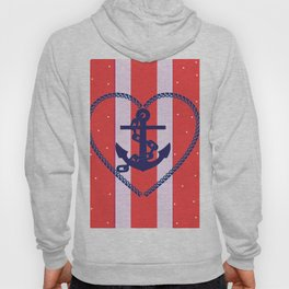 Red Stripes with Anchor Hoody
