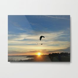 Sunset Paraglider Metal Print